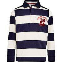John Lewis Boys' Bar Stripe Rugby Top, Navy/White