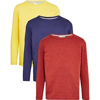 John Lewis Boys Long Sleeve T-Shirt, Pack of 3, Blue/Rust/Yellow