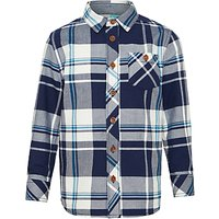 John Lewis Boys Oxford Check Long Sleeve Shirt, Blue