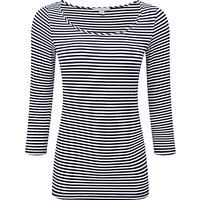 Pure Collection Gemma Soft Jersey Top, Navy/White