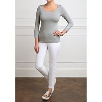 shop for Pure Collection Soft Jersey Scoop Neck Top, Light Grey Marl at Shopo