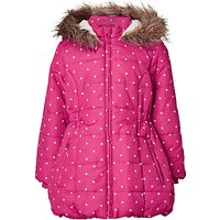 John Lewis Girls Star Print Longline Coat, Pink