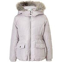 John Lewis Girls Faux Fur Trim Hooded Coat, Silver