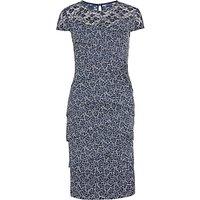 Gina Bacconi Metallic Two Tone Layered Lace Dress, Navy/White