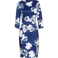 Gina Bacconi Brushed Flower Scuba Dress, Navy