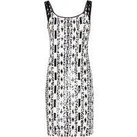 Gina Bacconi Monochrome Sequin Dress, Black/White