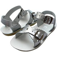 Salt-Water Childrens Sweetheart Leather Sandals, Silver