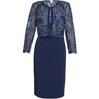 Gina Bacconi Embroidered Bodice Dress And Jacket, Navy