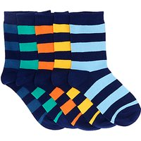 John Lewis Childrens Rugby Stripe Socks, Pack of 5, Multi