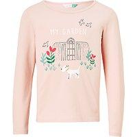 John Lewis Girls My Garden T-Shirt, Cameo Pink