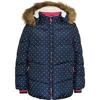 John Lewis Girls Fleece Lined Spot Coat, Navy