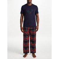 John Lewis Holly and Tartan Pyjama Gift Set, Blue/Multi