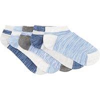 John Lewis Children's Trainer Socks, Pack of 5, Blue/Grey