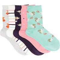 John Lewis Childrens Woodland Socks, Pack of 5, Multi