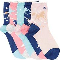 John Lewis Childrens Unicorn Socks, Pack of 5, Multi