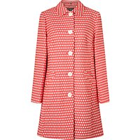Four Seasons Small Spot Single Breasted Coat, Hot Pink/Ivory