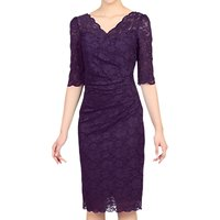 Jolie Moi Three-Quarter Sleeve Scalloped Lace Dress