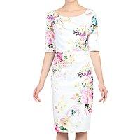 Jolie Moi Retro Floral Print Half Sleeve Dress, White