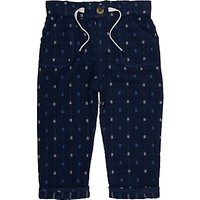 John Lewis Baby Textured Trousers, Navy