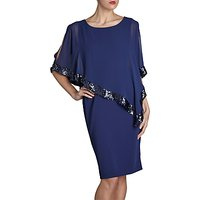 Gina Bacconi Crepe Dress And Sequin Chiffon Cape
