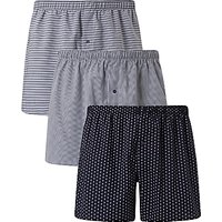 John Lewis Ashstead Multi Pattern Woven Cotton Boxers, Pack of 3, Navy