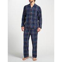 John Lewis Tauru Check Brushed Cotton Pyjamas, Navy