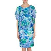 Gina Bacconi Printed Chiffon And Satin Dress, Blue/Green