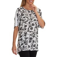 Betty Barclay Floral Print Tunic Top, White/Grey