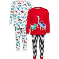 John Lewis Childrens Dinosaur Pyjamas, Pack of 2, Red