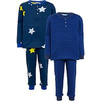 John Lewis Childrens Star and Stripe Pyjamas, Pack of 2, Blue