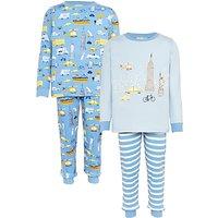John Lewis Childrens New York City Pyjamas, Pack of 2, Blue/Multi