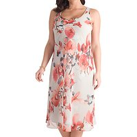 Chesca Floral Chiffon Dress, Grey/Red