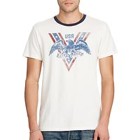 Denim & Supply Ralph Lauren USA Eagle Print Ringer T-Shirt, Antique Cream