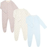 John Lewis Baby GOTS Organic Floral Sleepsuit, Pack of 3, Blue/Multi