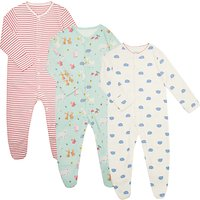 John Lewis Baby Woodland Animals GOTS Organic Sleepsuit, Pack of 3, Multi