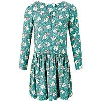 John Lewis Girls Floral Printed Drop Waist Dress, Green