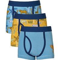 John Lewis Boys Safari Print Trunks, Pack of 3, Blue/Yellow