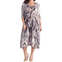 shop for Chesca Feather Print Dress, Silver Grey/Multi at Shopo