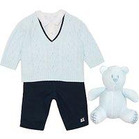 Emile et Rose Baby V-Neck Jumper, Shirt & Trousers Set, Blue