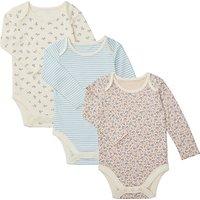 John Lewis Baby GOTS Organic Floral Bodysuit, Pack of 3, Blue/Multi