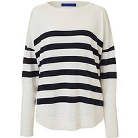 Winser London Cotton Casual Stripe Jumper, Soft White/Midnight Navy