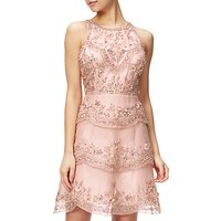 Adrianna Papell Halterneck Beaded Cocktail Dress, Rose Gold