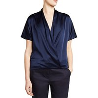 Winser London Silk And Jersey Short Sleeve Wrap Top