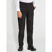 John Lewis and Partners Boys Easy Care Adjustable Waist Tailored Fit School Trousers, Longer Length, Black