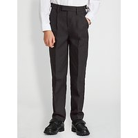 John Lewis and Partners Boys Easy Care Adjustable Waist Tailored Fit School Trousers, Longer Length, Charcoal
