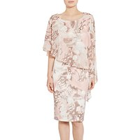 Gina Bacconi Printed Satin Dress With Chiffon Cape, Taupe/Blush