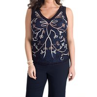 shop for Chesca Cornelli Embroidered Lace Cami at Shopo