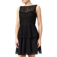 Adrianna Papell Lace Detail Peplum Dress, Black