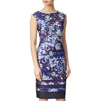 Adrianna Papell Plus Size Ikat Floral Printed Shift Dress, Plum/Multi