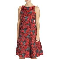 Adrianna Papell Petite Sleeveless Floral Jacquard Tea Length Dress, Black/Crimson
